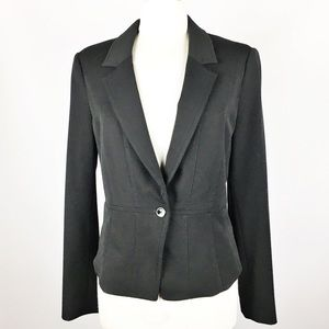 WHBM Fitted One Button Blazer Jacket Black 12